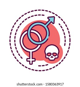 Sex addiction color line icon. Physical or emotional dependence on having sexual intercourse. Pictogram for web page, mobile app, promo. UI UX GUI design element. Editable stroke.