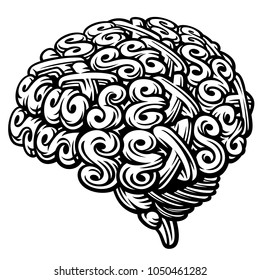 Sex Brain. Linocut Vector Illustration