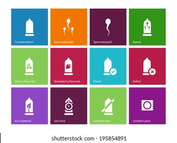 Sex and condom icons on color background. Vector illustration.