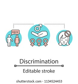 Sex discrimination concept icon. Gender politics idea thin line illustration. Sexism. Sexual violence. Vector isolated outline drawing. Editable stroke