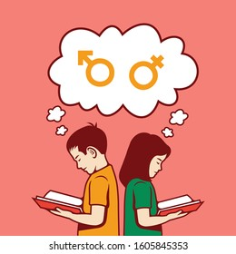 Sex education for kids Vector color cartoon illustration