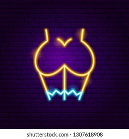 Sex Girl Neon Sign. Vector Illustration of Adult Show Promotion.