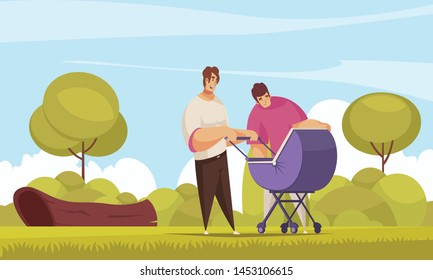 Sex homosexual baby family composition with outdoor landscape and homosexual couple walking out with go cart vector illustration