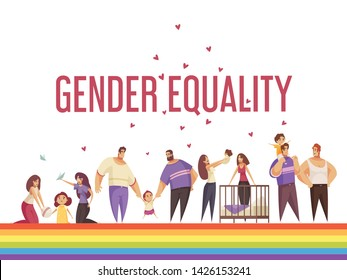 Sex homosexual lgbt composition with gender equality images human characters of same sex couples vector illustration