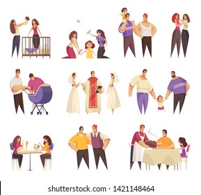 Sex homosexual lgbt lesbian gay bisexual transgender family set of isolated doodle style cartoon human characters vector illustration