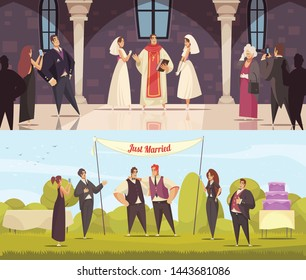Sex homosexual lgbt wedding two horizontal compositions with male and female same sex intending spouses characters vector illustration