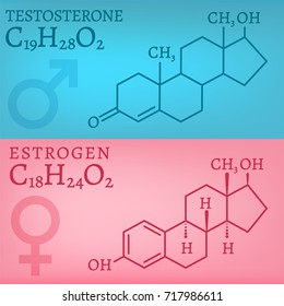Sex hormones molecular formules - estradiol and testosterone. Vector illustration isolated on a light blue and pink background.