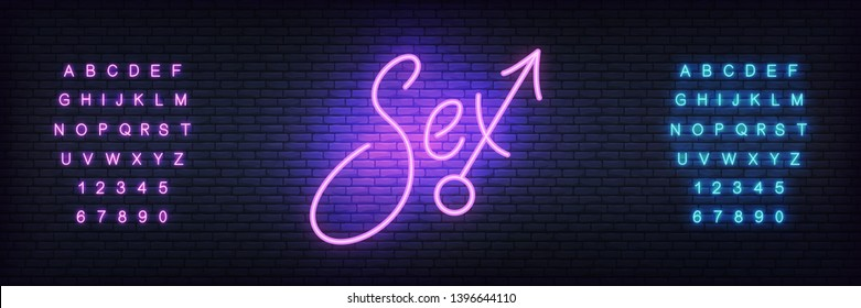 Sex neon sign. Glowing night bright lettering vector sign for adult sex shop advertisement.