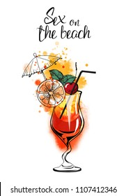 Sex on the beach cocktail.Watercolor illustration of cocktails. Hand drawn sketch
