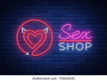Sex Pattern Logo, Sexy xxx concept for adults in neon style. Neon sign, design element, storage, prints, facades, window signs, digital projects. Intimate store. Bright night sign advertising. Vector.