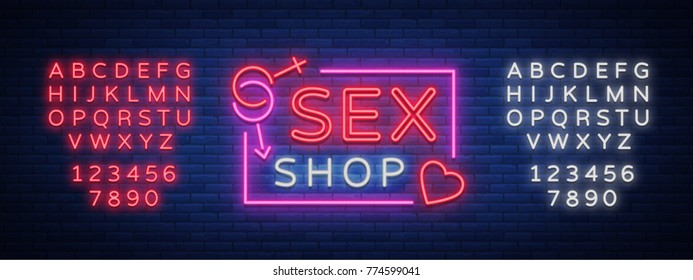 Sex Pattern Logo, Sexy xxx concept for adults in neon style. Neon sign, design element, storage, prints, facades, window signs, digital projects. Intimate store. Vector. Editing text neon sign