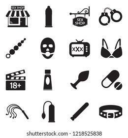 Sex Shop Icons. Black Flat Design. Vector Illustration.