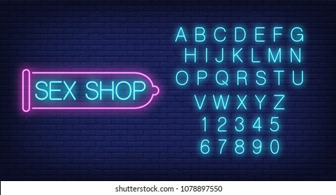 Sex shop lettering in condom outline, English alphabet and numbers neon signs collection. Neon sign, night bright advertisement, colorful signboard, light banner. Vector illustration in neon style.