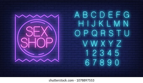 Sex shop lettering on condom package, English alphabet and numbers neon signs collection. Neon sign, night bright advertisement, colorful signboard, light banner. Vector illustration in neon style.