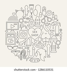 Sex Shop Line Icons Circle. Vector Illustration of Adult Toys Outline Objects.