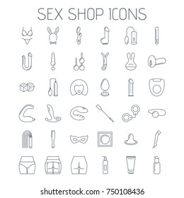 Sex shop line icons isolated on white background. Linear minimalistic icons for your website, flyers and advertising.