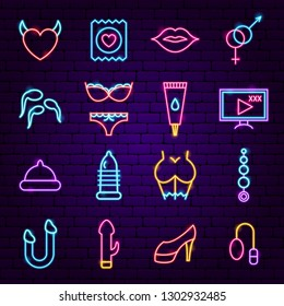 Sex Shop Neon Icons. Vector Illustration of Adult Toys Promotion.