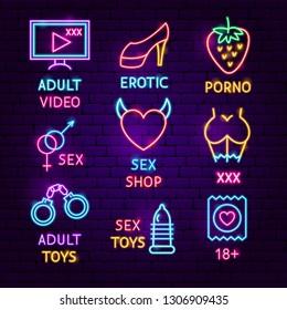 Sex Shop Neon Label Set. Vector Illustration of Adult Toys Promotion.
