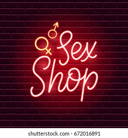 Sex Shop Neon Sign. Adults store banner. Vector illustration