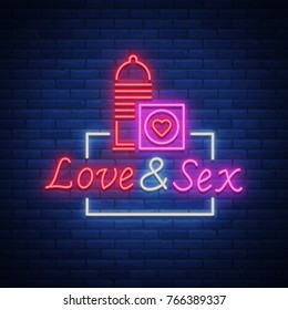 Sex Shop is a neon sign logo. Vector illustration. Love Sex. Bright neon sign, luminous banner, nightly bright advertisement of sex shop.