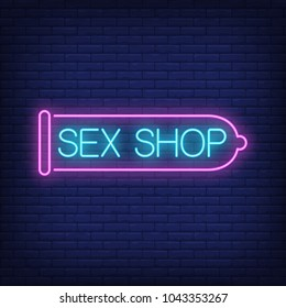 Sex shop neon sign. Pink condom on brick wall. Night bright advertisement. Vector illustration in neon style for erotic entertainment and sex toy store