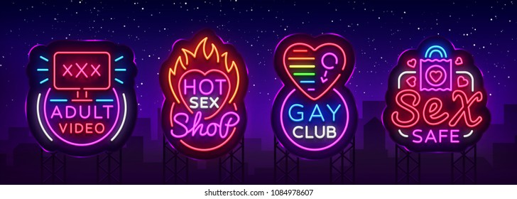 Sex shop set of logos in neon style. Neon sign collection, Gay club, Adult toys, Design template, Light banner on the theme of sex industry, Bright neon advertising. Vector illustration. Billboard
