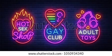 Neon Logos Sex เวกเตอร์สต็อ Style Set Shop 3AjcR5L4q