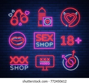 Sex shop set of logos, signs, symbols in neon style. Collection of emblems.