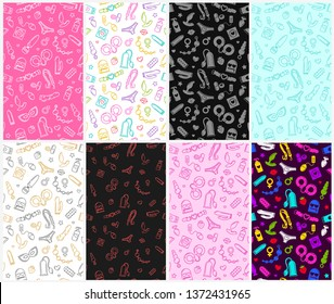 Sex Shop toys flat line icon items and Adult store accessories - Colorful seamles pattern collection. Exotic Sex Shop items and objects flat line icons and symbols on white, blue, purple background