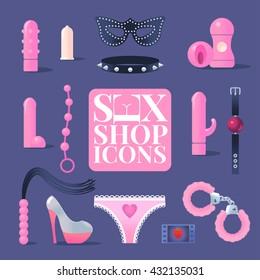 Sex shop vector icons. Design elements for sex toys industry. Bdsm vector symbols