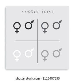 Sex symbols flat black and white vector icon.