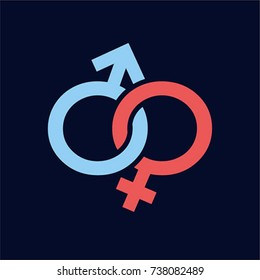 Sex symbols, male and female genders vector icon, gender signs