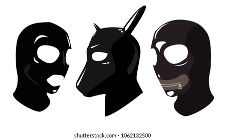 Sex toy black leather latex strap masks. BDSM. Mask with a closed mouth dog mask, with an open mouth and eyes. Sex attributes. .Age Play. Sadism Masochism Bondage Discipline Belting. Modern vector
