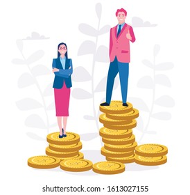 Sexism and discrimination. Businessman and woman standing in golden coins, representing wages level.  Vector illustration for web banner, infographics, mobile. Gender gap and inequality in salary.