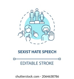 Sexist hate speech blue concept icon. Human rights violation abstract idea thin line illustration. Women under-representation. Gender stereotype. Vector isolated outline color drawing. Editable stroke