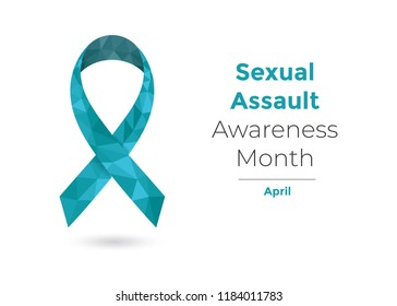 Sexual Assault Awareness Month (April) concept with teal awareness ribbon for web and printing.