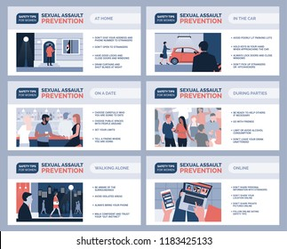 Sexual assault and harassment prevention for women and safety tips, vector infographic