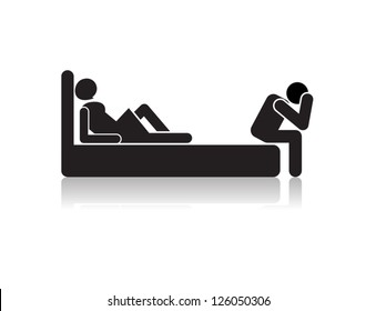 sexual dysfunction man.sign illustration on white