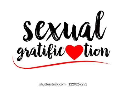 sexual gratification word text with red love heart suitable for logo or typography design