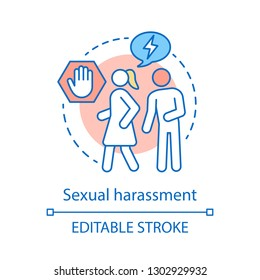 Sexual harassment concept icon. Violence against women idea thin line illustration. Bullying, coercion. Stop domestic violence. Vector isolated outline drawing. Editable stroke