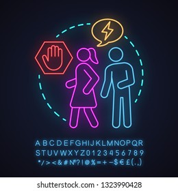 Sexual harassment neon light concept icon. Violence against women idea. Bullying, coercion. Stop domestic violence. Glowing sign with alphabet, numbers and symbols. Vector isolated illustration