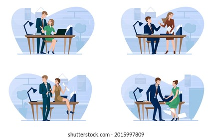 Sexual harassment scenes in business office. Boss flirting with secretary or employee, flat vector isolated illustration. Love affairs at work. Romantic relationship, extramarital workplace affairs.