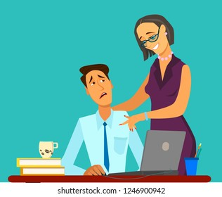 sexual harassment at work, office woman and her lustful boss, Vector illustration in cartoon style,