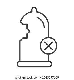 sexual health, contraception condom damaged vector illustration line icon