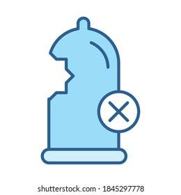 sexual health, contraception condom damaged vector illustration line fill blue icon