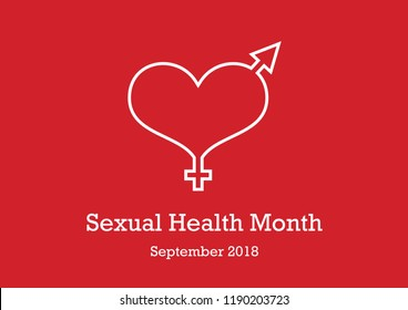 Sexual Health Month vector. Sexual education vector illustration. Red background with heart, he and she. Important day