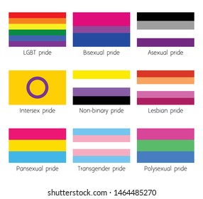 Sexual identity flags set. LGBT, bisexual, lesbian and others flags vector.