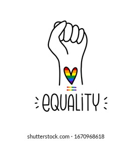 Sexual minorities equality campaign vector clipart with pumping fist gesture and LGBT rainbow heart tattoo for an activism poster or banner. Raised arm vector clipart with colorful gay symbols.