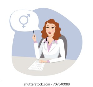 Sexual orientation. Female doctor talking about HRT (Hormone Replacement Therapy) with patient treatment file. Medical concept, Modern medicine and health care system. Isolated vector illustration