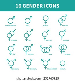 Sexual orientation gender web icons,symbol,sign in flat style. Male and female combination. Graphic vector elements set.